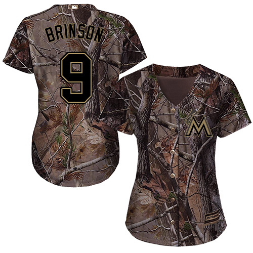 Miami Marlins #9 Lewis Brinson Realtree Collection Cool Base Women's Stitched Baseball Camo Jersey
