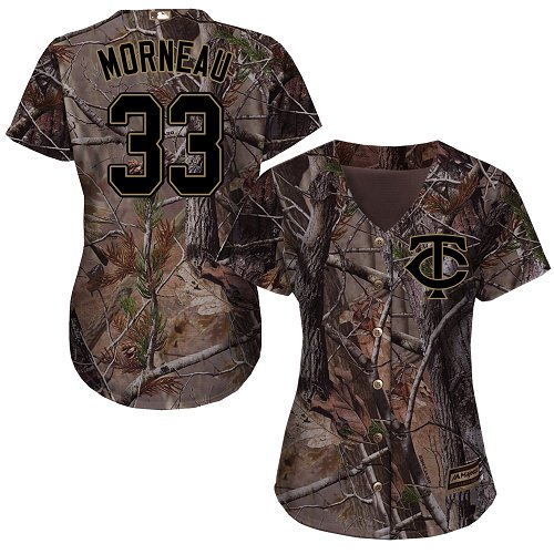 Minnesota Twins #33 Justin Morneau Realtree Collection Cool Base Women's Stitched Baseball Camo Jersey