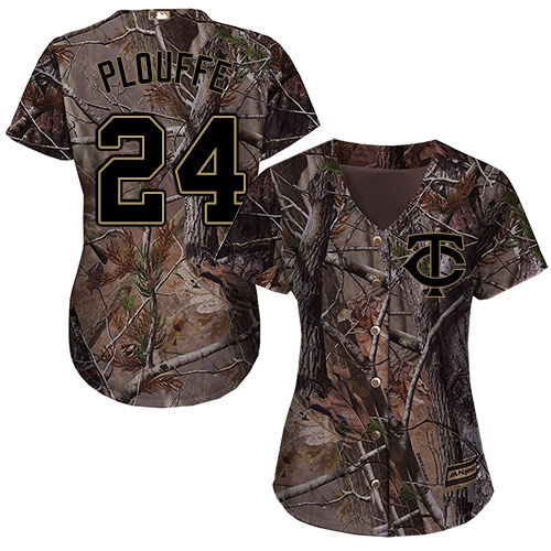 Minnesota Twins #24 Trevor Plouffe Realtree Collection Cool Base Women's Stitched Baseball Camo Jersey