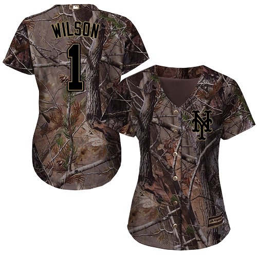 New York Mets #1 Mookie Wilson Realtree Collection Cool Base Women's Stitched Baseball Camo Jersey