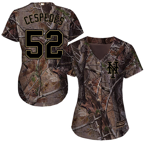 New York Mets #52 Yoenis Cespedes Realtree Collection Cool Base Women's Stitched Baseball Camo Jersey