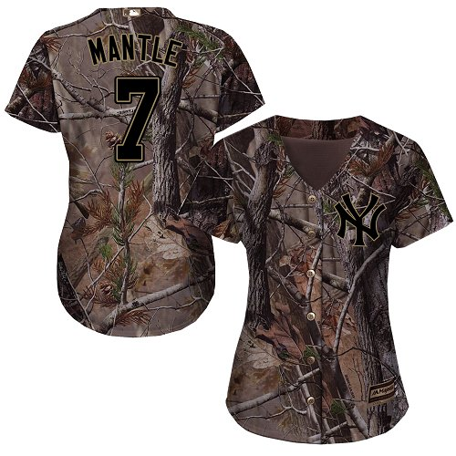 New York Yankees #7 Mickey Mantle Realtree Collection Cool Base Women's Stitched Baseball Camo Jersey