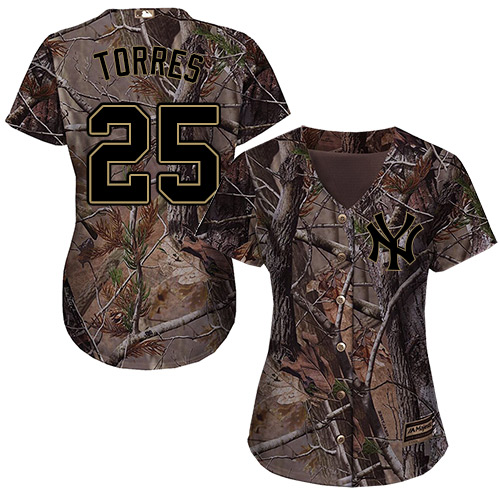 New York Yankees #25 Gleyber Torres Realtree Collection Cool Base Women's Stitched Baseball Camo Jersey