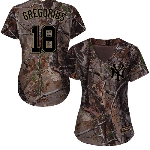 New York Yankees #18 Didi Gregorius Realtree Collection Cool Base Women's Stitched Baseball Camo Jersey