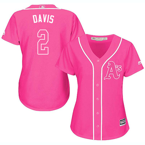 Oakland Athletics #2 Khris Davis Fashion Women's Stitched Baseball Pink Jersey