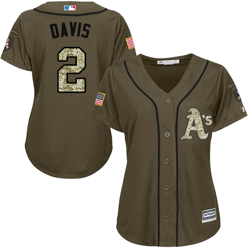 Oakland Athletics #2 Khris Davis Salute to Service Women's Stitched Baseball Green Jersey