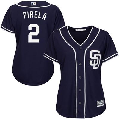 San Diego Padres #2 Jose Pirela Alternate Women's Stitched Baseball Navy Blue Jersey
