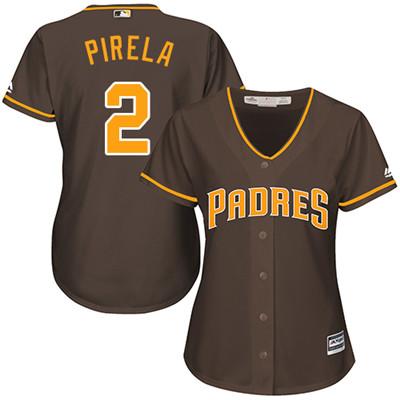 San Diego Padres #2 Jose Pirela Alternate Women's Stitched Baseball Brown Jersey