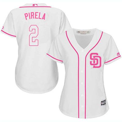 San Diego Padres #2 Jose Pirela Fashion Women's Stitched Baseball White Pink Jersey
