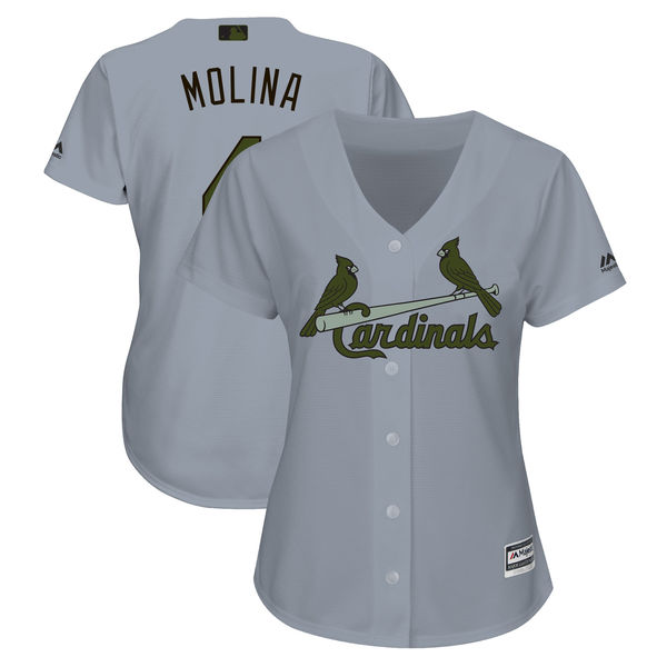 St. Louis Cardinals #4 Yadier Molina Women 2018 Memorial Day Cool Base Gray Jersey