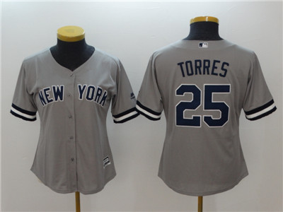 Women New York Yankees 25 Gleyber Torres Women Cool Base Gray Jersey