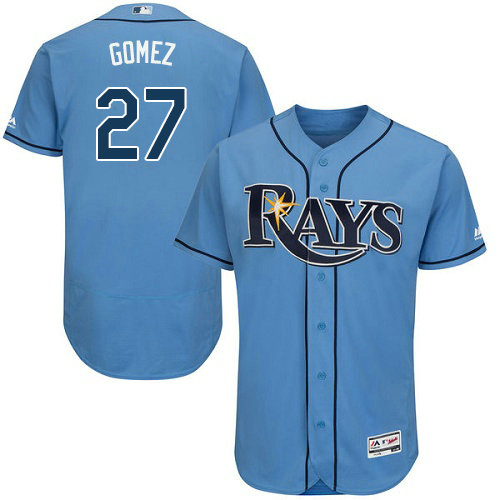 Tampa Bay Rays #27 Carlos Gomez Flexbase Authentic Collection Stitched Baseball Light Blue Jersey