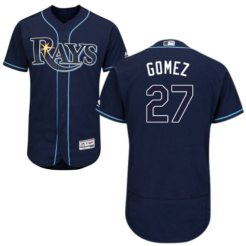 Tampa Bay Rays #27 Carlos Gomez Flexbase Authentic Collection Stitched Baseball Dark Blue Jersey