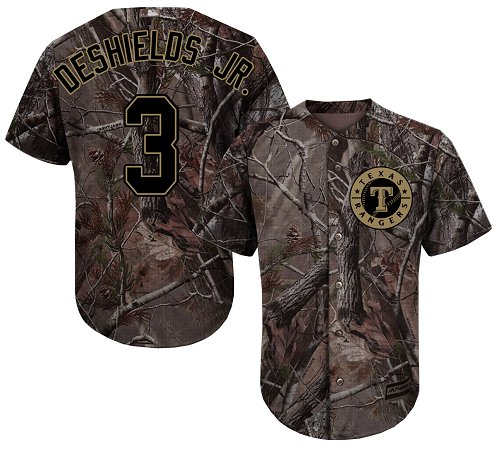 Texas Rangers #3 Delino DeShields Jr. Realtree Collection Cool Base Stitched Baseball Camo Jersey