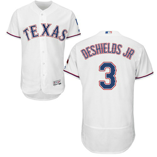 Texas Rangers #3 Delino DeShields Jr. Flexbase Authentic Collection Stitched Baseball White Jersey