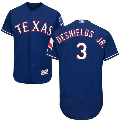 Texas Rangers #3 Delino DeShields Jr. Flexbase Authentic Collection Stitched Baseball Blue Jersey
