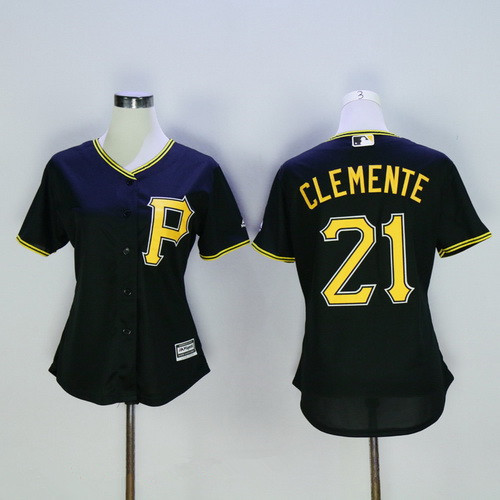 Women's Pittsburgh Pirates #21 Roberto Clemente Retired Black MLB Cool Base Stitched Baseball Jersey