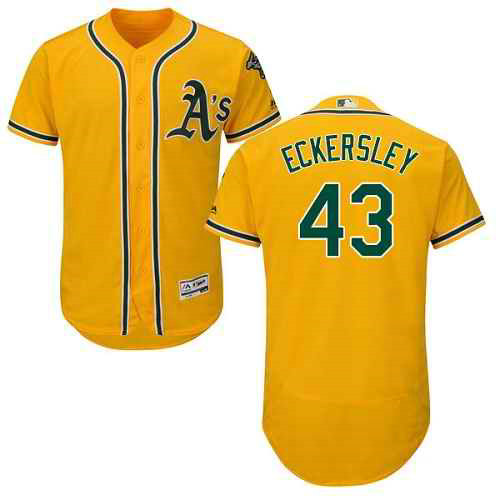 Oakland Athletics #43 Dennis Eckersley Gold Men's Flexbase Authentic Collection Stitched MLB Jersey
