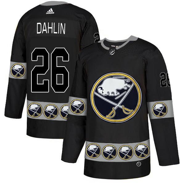 Men's Buffalo Sabres #26 Rasmus Dahlin Black Team Logos Adidas Fashion Jersey