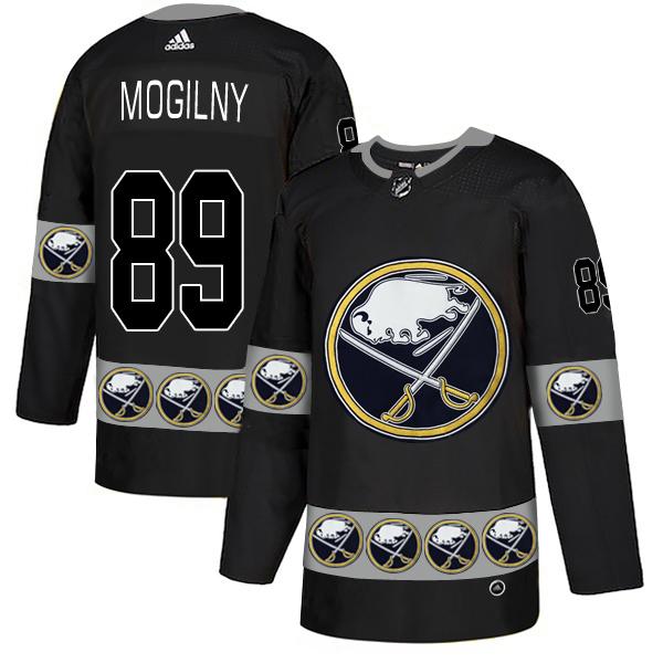 Men's Buffalo Sabres #89 Alexander Mogilny Black Team Logos Adidas Fashion Jersey