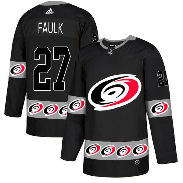 Men's Carolina Hurricanes #27 Justin Faulk Black Team Logos Adidas Fashion Jersey