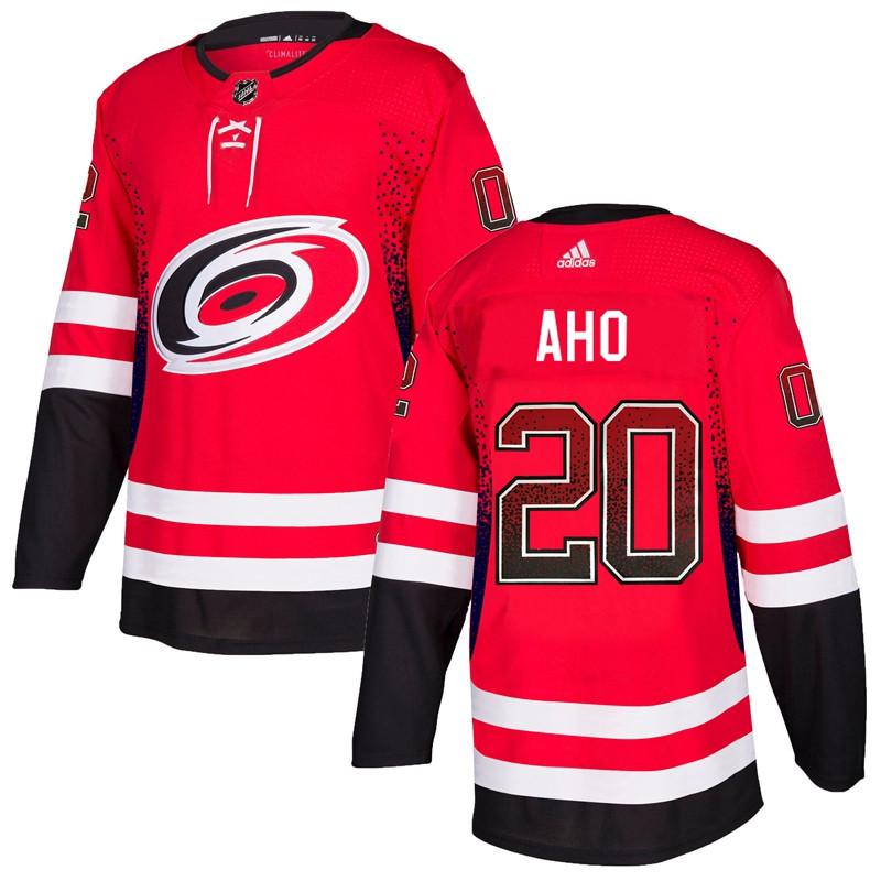 Men's Carolina Hurricanes #20 Sebastian Aho Red Drift Fashion Adidas Jersey