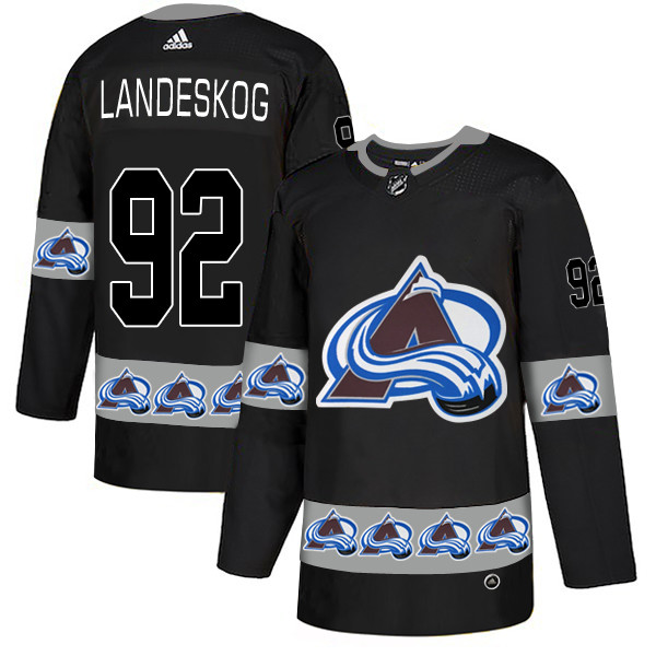 Men's Colorado Avalanche #92 Gabriel Landeskog Black Team Logos Adidas Fashion Jersey