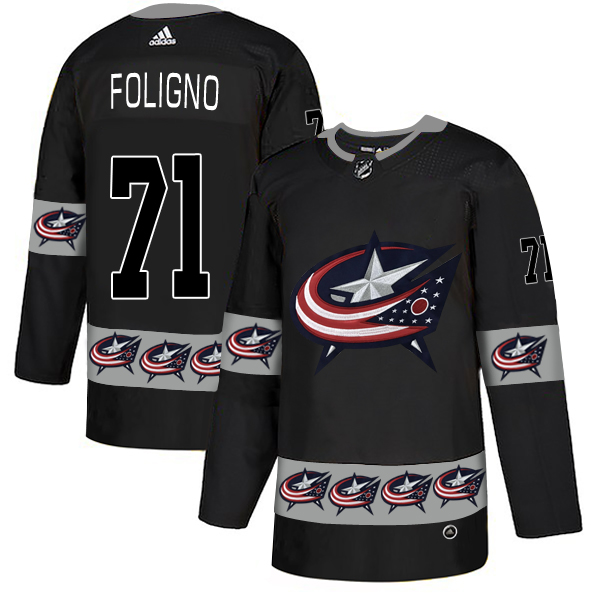 Men's Columbus Blue Jackets #71 Nick Foligno Black Team Logos Adidas Fashion Jersey