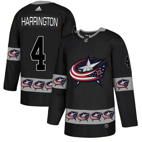 Men's Columbus Blue Jackets #4 Scott Harrington Black Team Logos Adidas Fashion Jersey