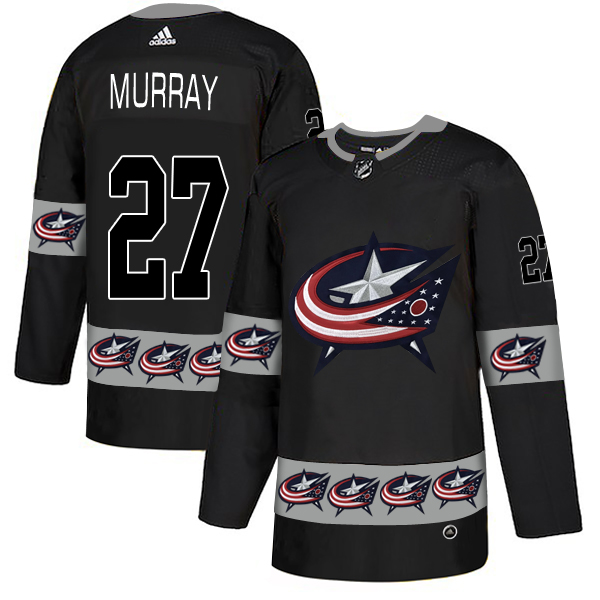 Men's Columbus Blue Jackets #27 Ryan Murray Black Team Logos Adidas Fashion Jersey