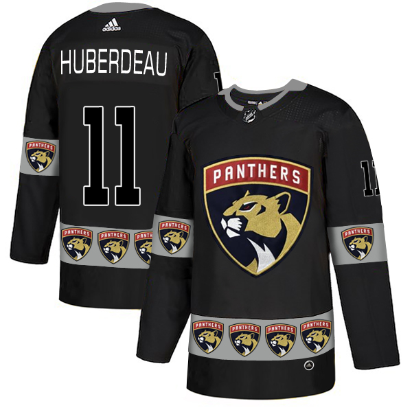 Men's Florida Panthers #11 Jonathan Huberdeau Black Team Logos Adidas Fashion Jersey