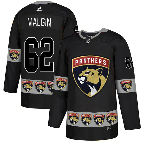 Men's Florida Panthers #62 Denis Malgin Black Team Logos Adidas Fashion Jersey