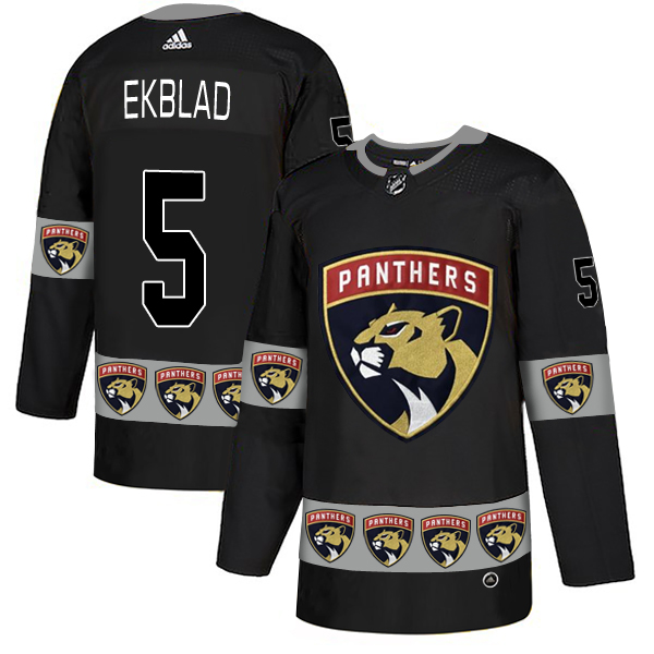 Men's Florida Panthers #5 Aaron Ekblad Black Team Logos Adidas Fashion Jersey