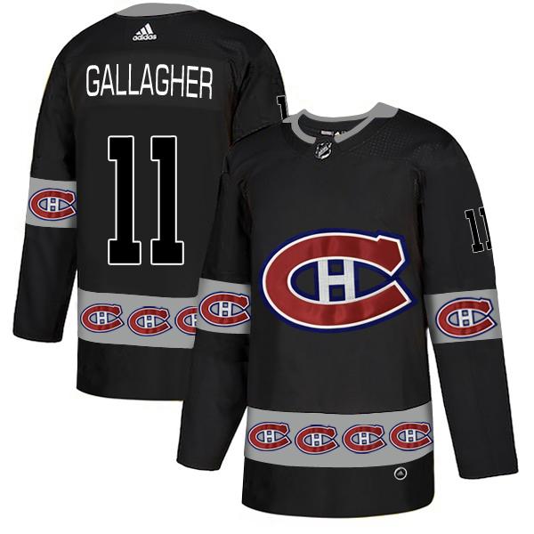 Men's Montreal Canadiens #11 Brendan Gallagher Black Black Team Logos Adidas Fashion Jersey