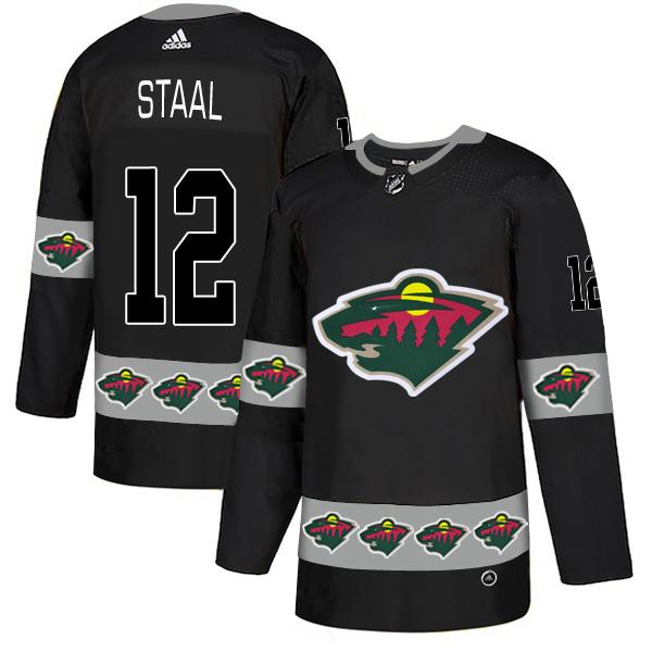 Men's Minnesota Wild #12 Eric Staal Black Team Logos Adidas Fashion Jersey