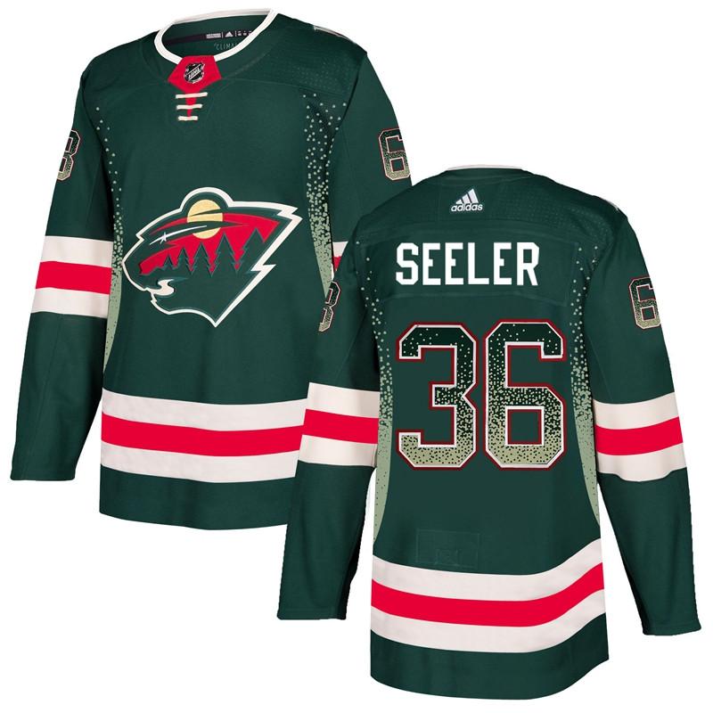 Men's Minnesota Wild #36 Nick Seeler Green Drift Fashion Jersey