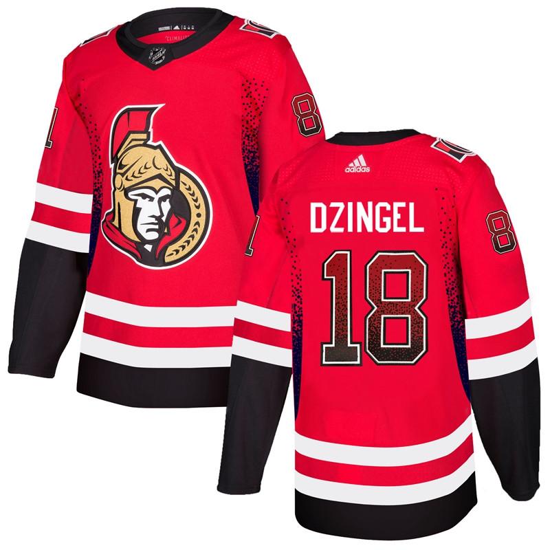 Men's Ottawa Senators 18 Ryan Dzingel Red Drift Fashion Adidas Jersey