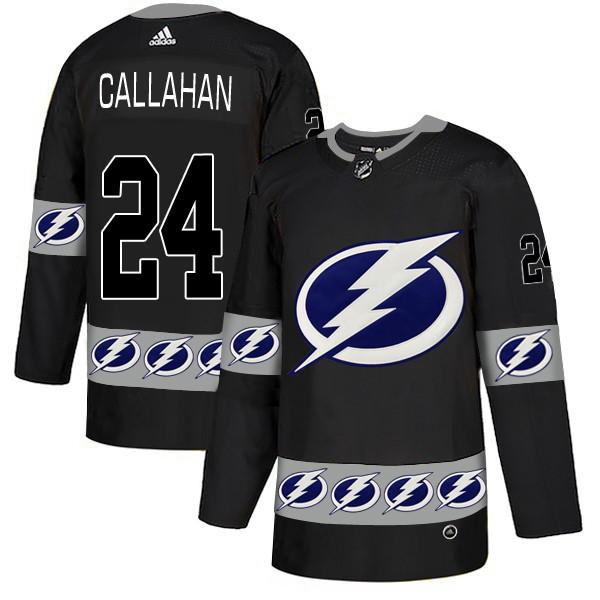 Men's Tampa Bay Lightning #24 Ryan Callahan Black  Team Logos Adidas Fashion Jersey