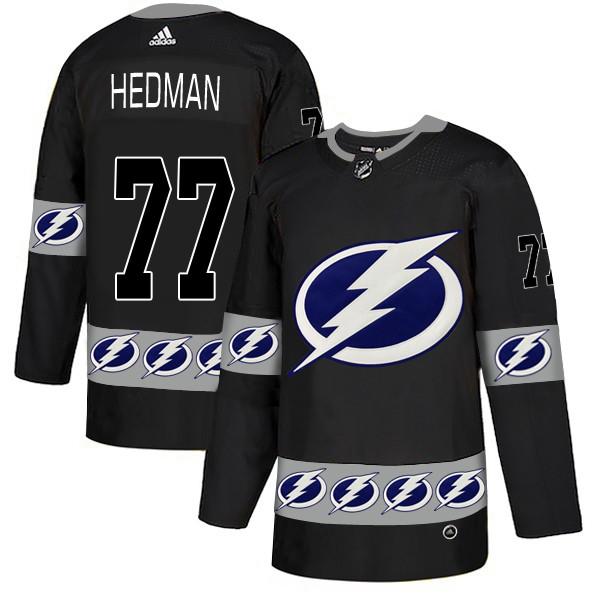 Men's Tampa Bay Lightning #77 Victor Hedman Black  Team Logos Adidas Fashion Jersey