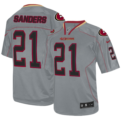 Men's 49ers #21 Deion Sanders Lights Out Grey Nike Stitched NFL Elite Jersey