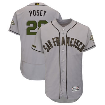 San Francisco Giants 28 Buster Posey Majestic Gray Men's 2018 Memorial Day Authentic Collection Flex Base Player Jersey