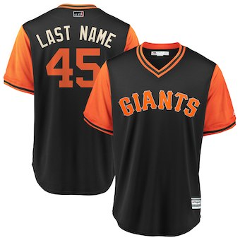 San Francisco Giants #45 Derek Holland Last Name Majestic Black Men's 2018 Players' Weekend Cool Base Jersey