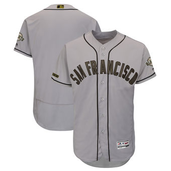 San Francisco Giants Blank Majestic Gray Men's 2018 Memorial Day Authentic Collection Flex Base Team Jersey