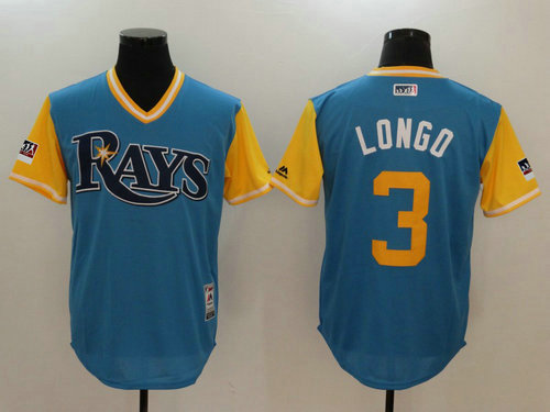 Tampa Bay Rays 3 Evan Longoria Longo Majestic Light Blue 2018 Players Weekend Authentic Men's Jersey