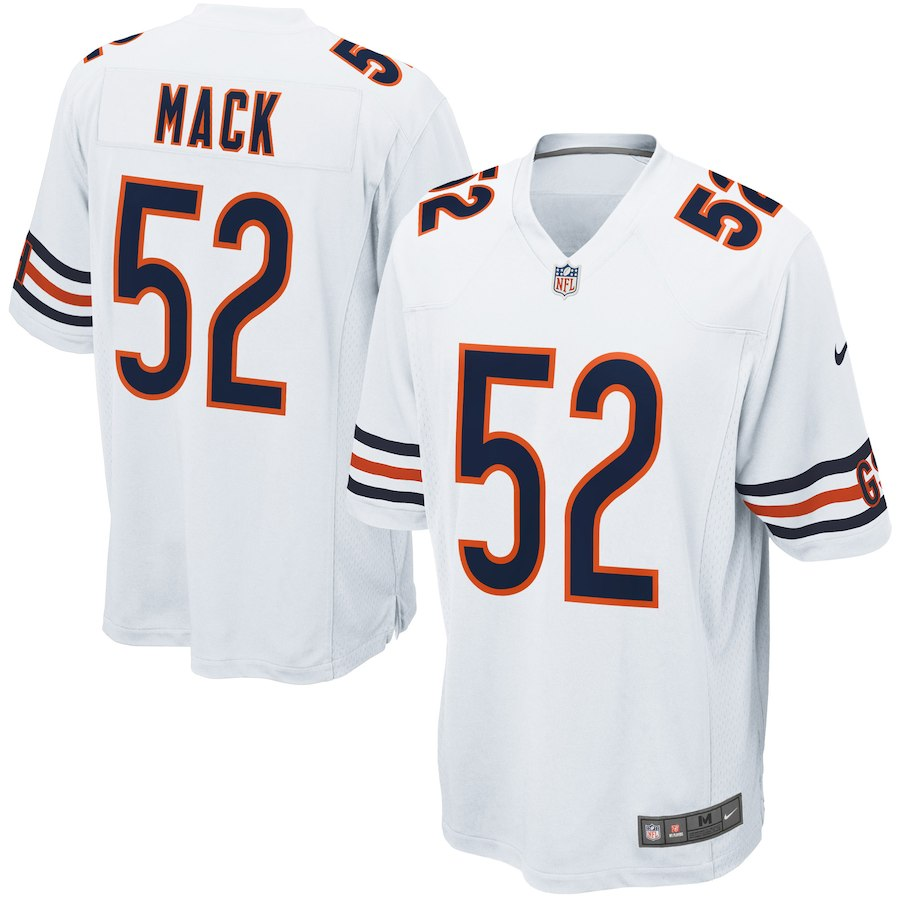 Men's Chicago Bears #52 Khalil Mack NikeWhite Game Jersey