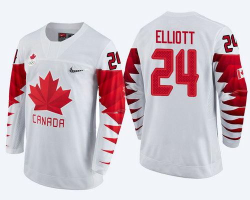 Men's Canada Team #24 Stefan Elliott White 2018 Winter Olympics Jersey