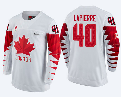 Men's Canada Team #40 Maxim Lapierre White 2018 Winter Olympics Jersey