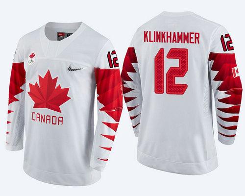 Men's Canada Team #12 Rob Klinkhammer White 2018 Winter Olympics Jersey