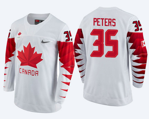 Men's Canada Team #35 Justin Peters White 2018 Winter Olympics Jersey