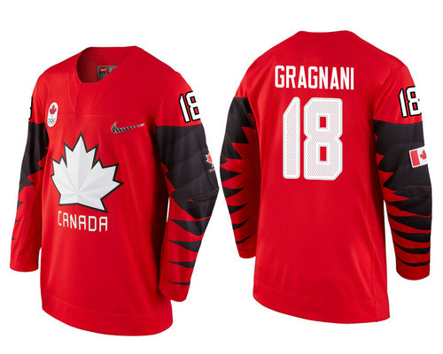 Men's Canada Team #18 Marc-Andre Gragnani Red 2018 Winter Olympics Jersey